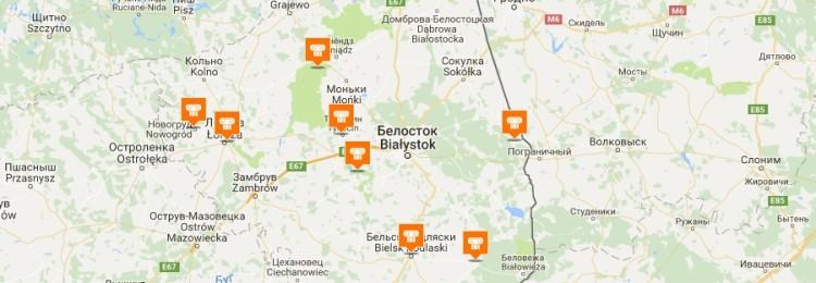 Карта Белостока