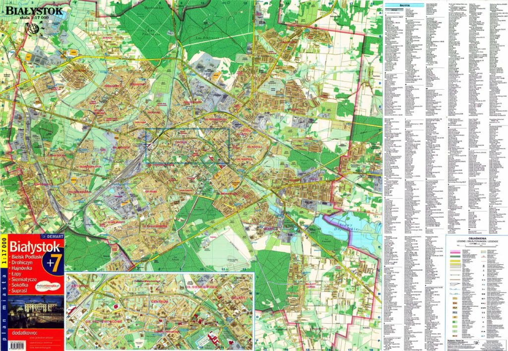 Подробная карта Польши с названиями улиц на русском языке