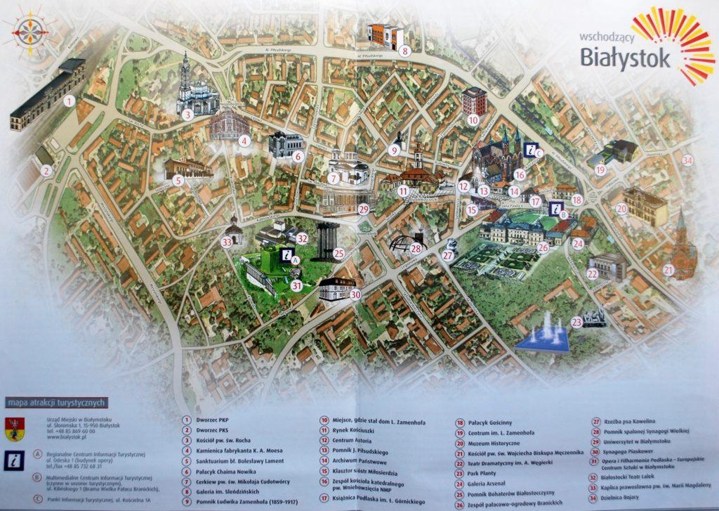 Карта Белостока с достопримечательностями