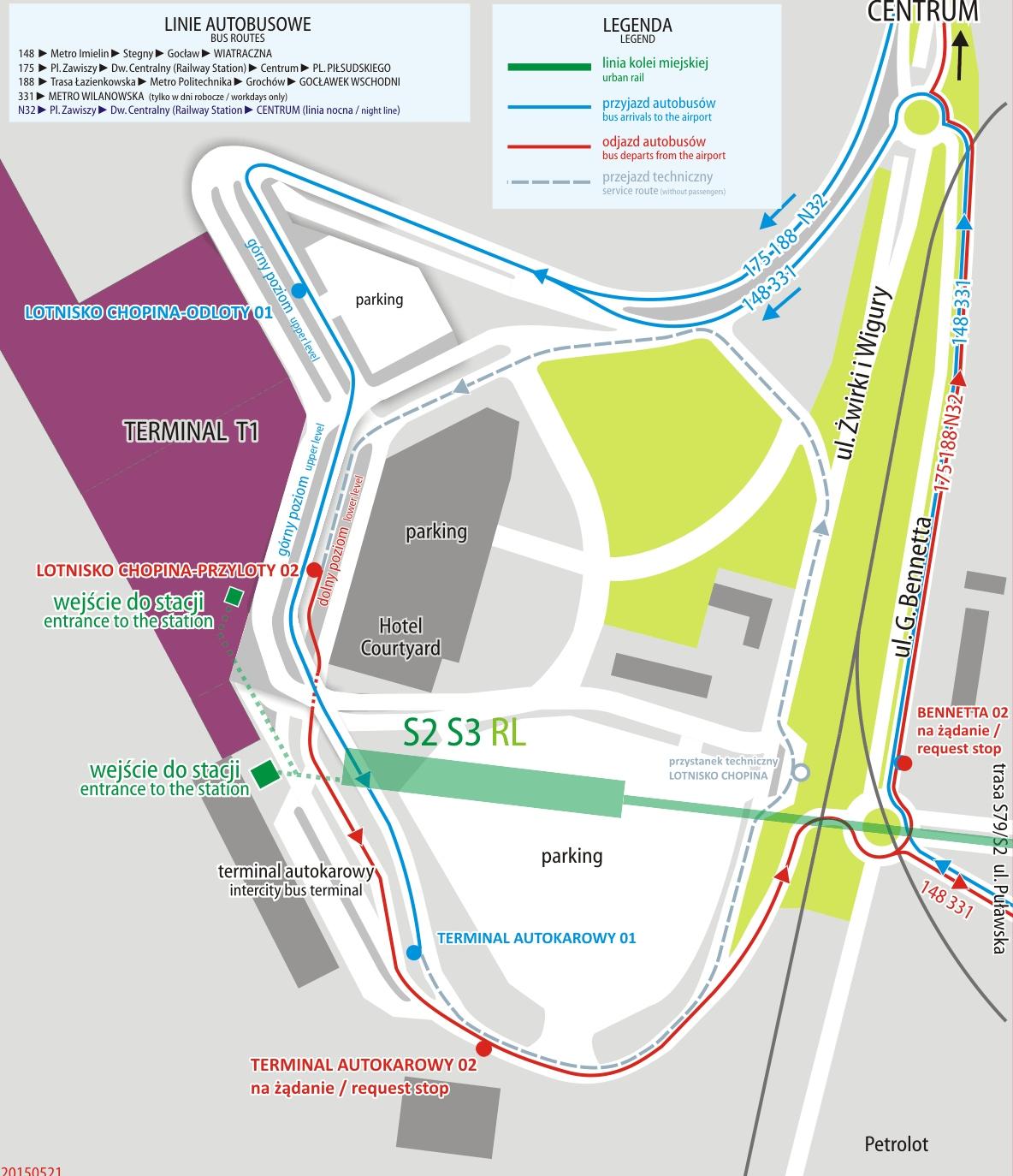 Расположение остановок общественного транспорта в аэропорту Шопена