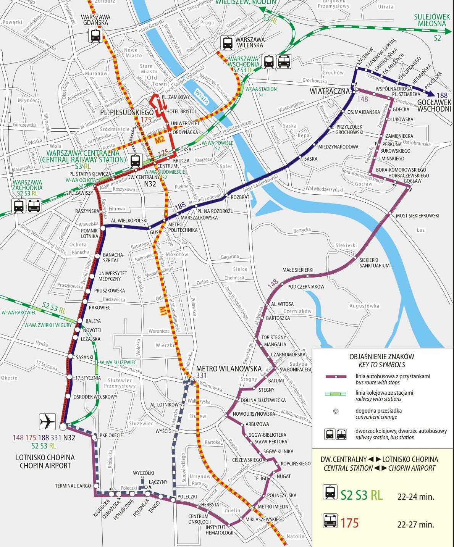 Схема движения городского общественного транспорта в/из аэропорт Шопена