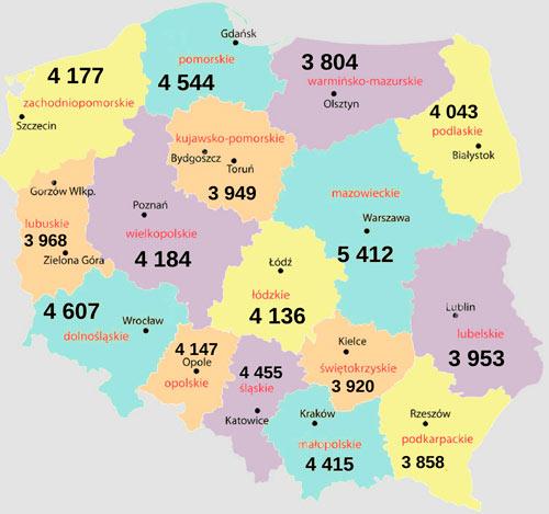 Средние зарплаты в Польше в 2018 году по регионам