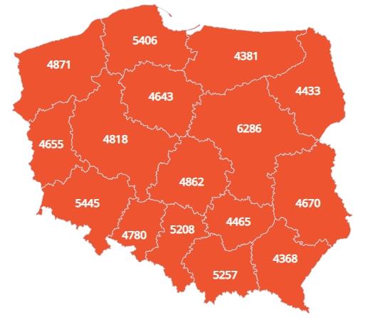 Средние зарплаты в Польше по воеводствам на январь 2020 года