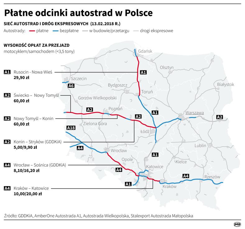 Карта платных дорог Польши 2018