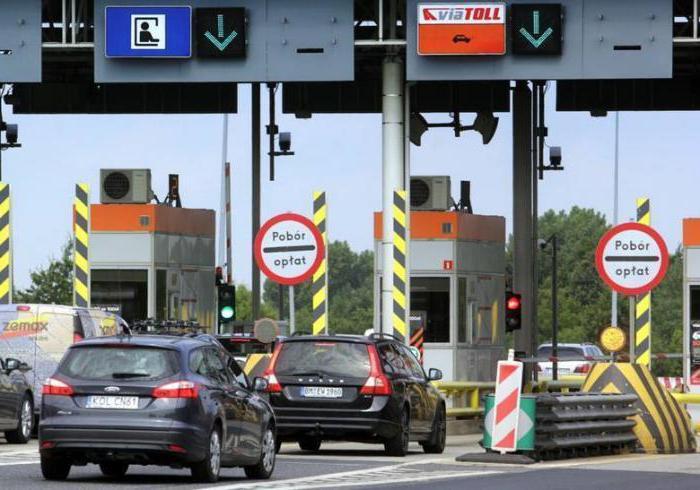 Обозначение участков платных дорог в Польше