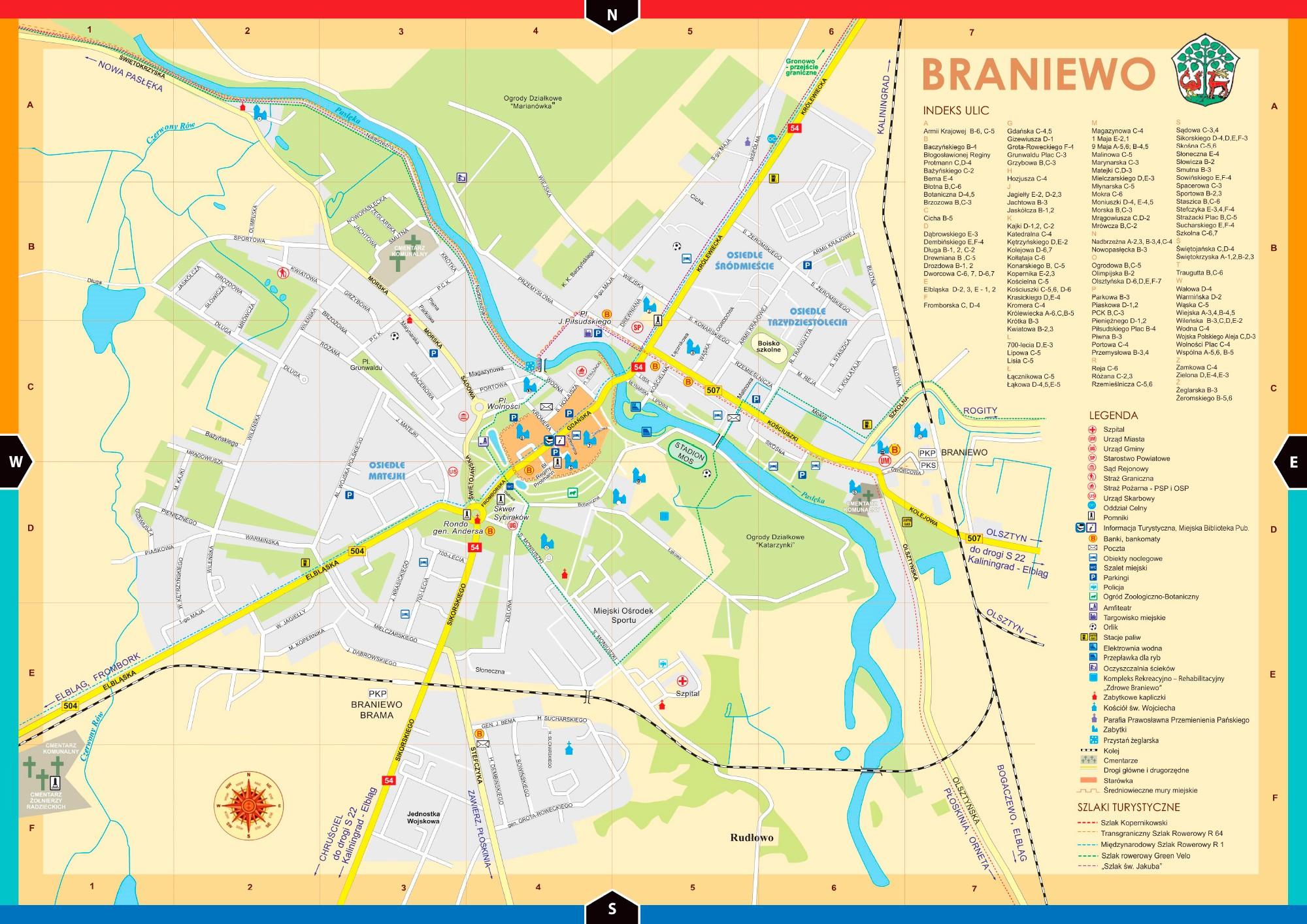 Достопримечательности Бранево на карте