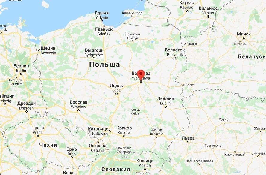 Где находится Варшава на карте Польши