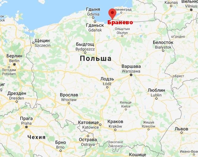 Город Бранево на карте Польши