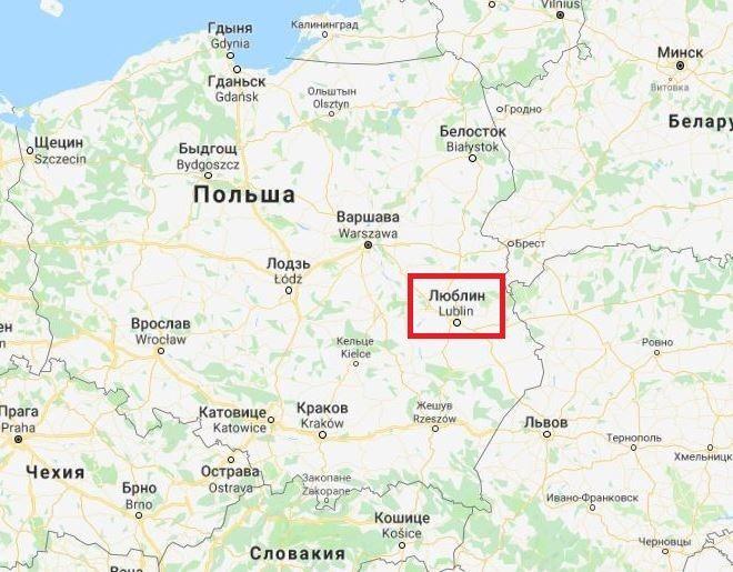 Город Люблин на карте Польши