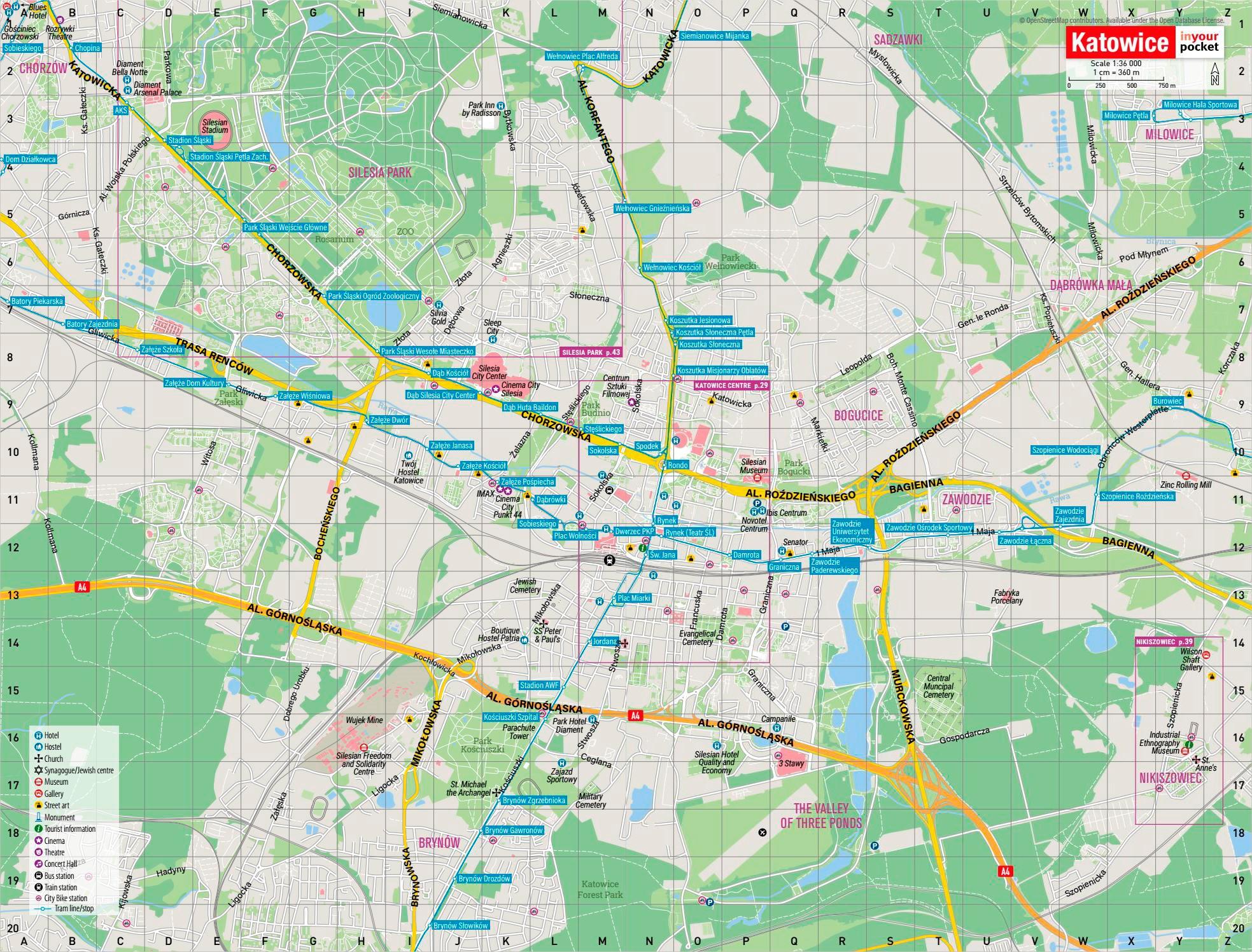 Достопримечательности Катовице на карте
